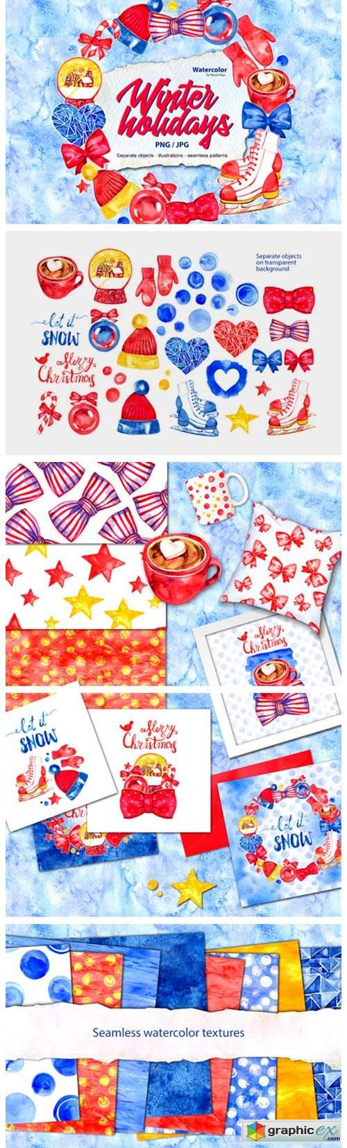 Watercolor Winter Holidays Set