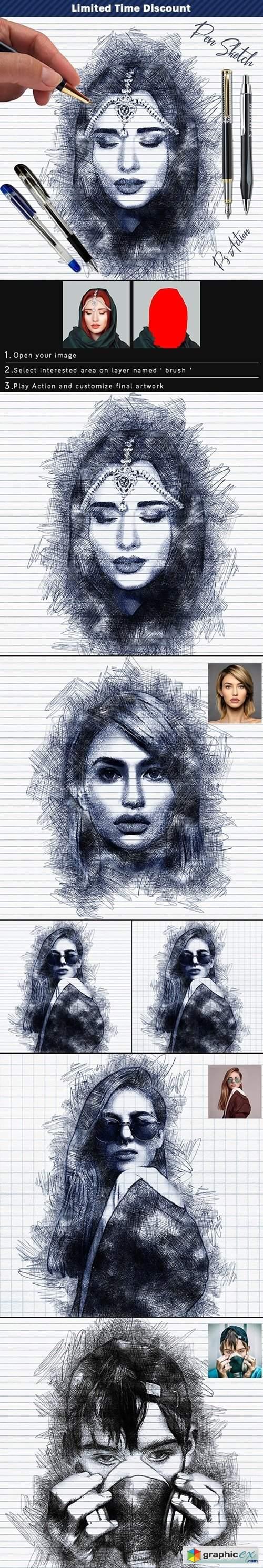 Pen Sketch Photoshop Action 25774811