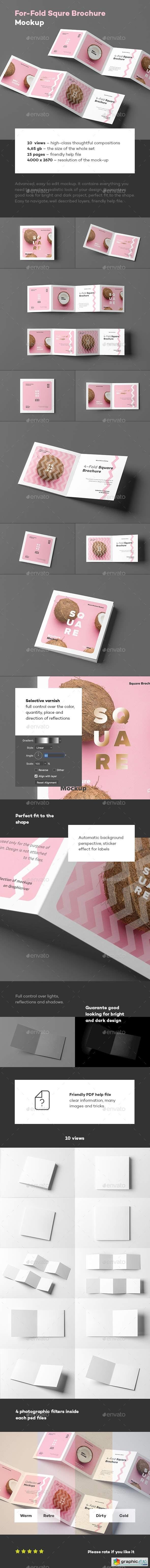 Four Fold Square Brochure Mock-up