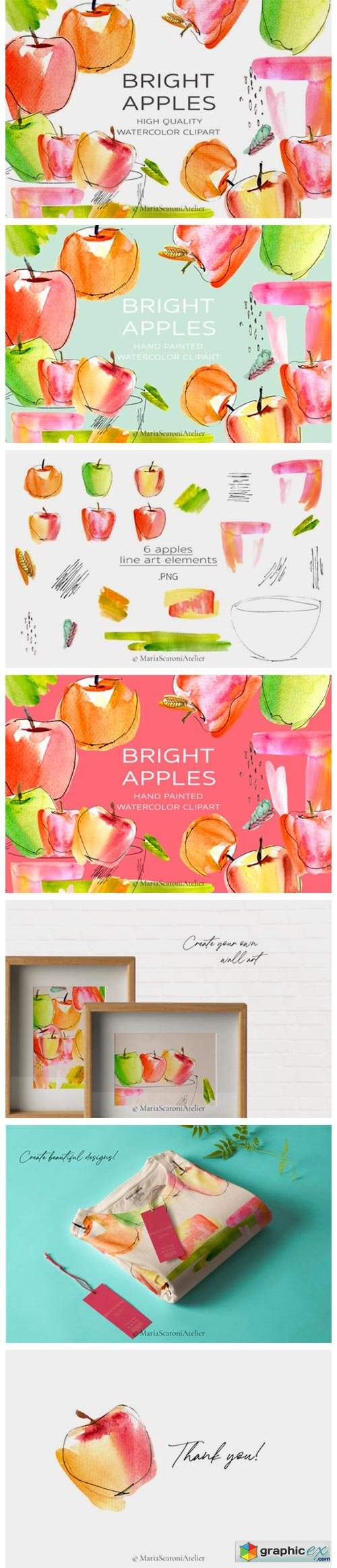 Watercolor Apple Clipart, Bright Apples