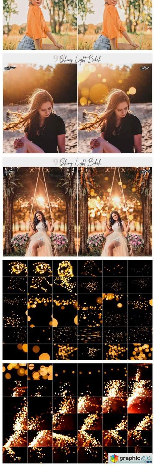 90 Shiny Light Bokeh Overlays