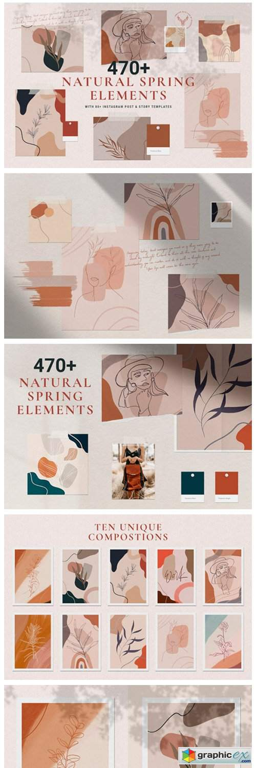 Natural Spring Graphics & Insta Elements