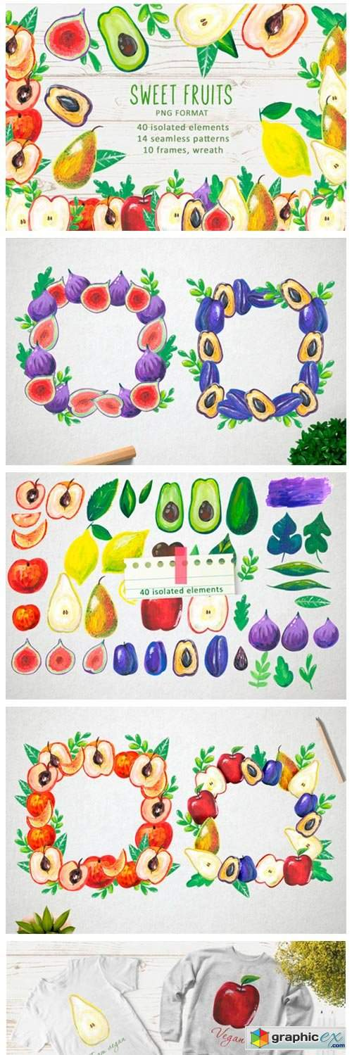 Watercolor Sweet Fruits 2969360