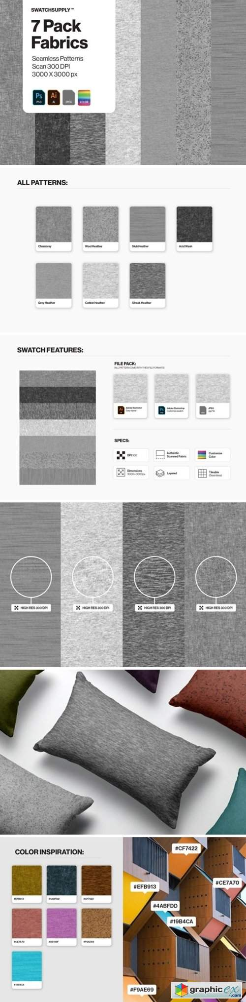 7 Pack Fabric Seamless Patterns
