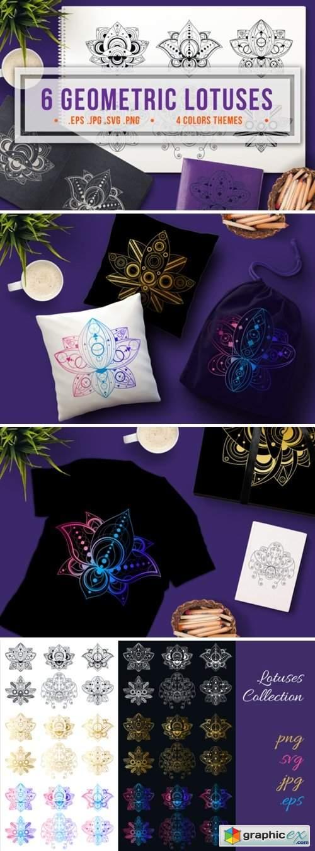 Geometric Lotuses Set