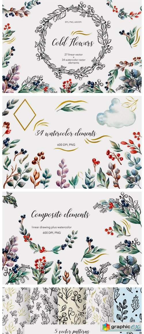 Cold Flowers - Vector & Watercolor Set