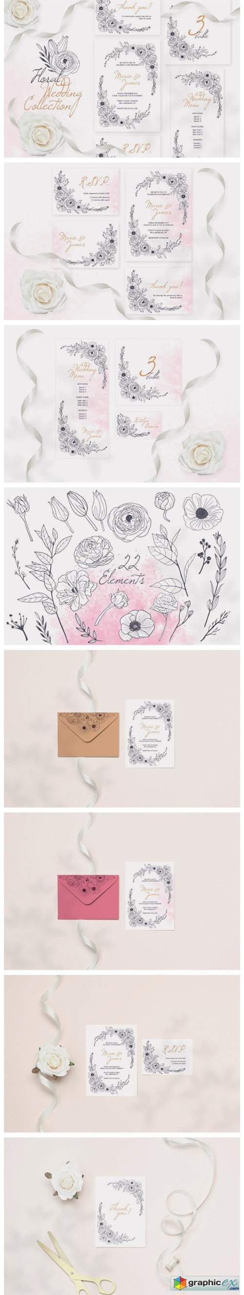 Floral Wedding Cards Monochrome Graphic