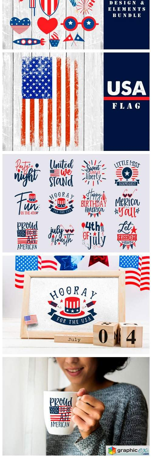 4th July, 50 USA States Map & Design
