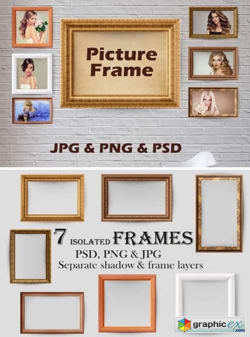 7 Wooden Picture Frames, Golden Frame