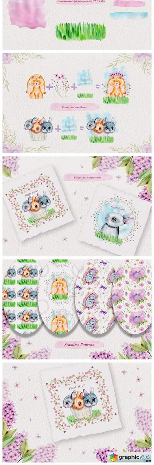 Watercolor Bunnies Illustration Set