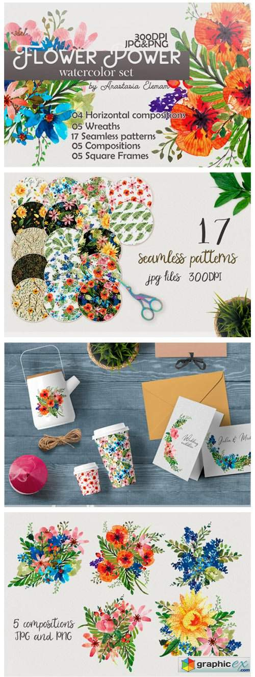 Flower Power Watercolor Pack Set