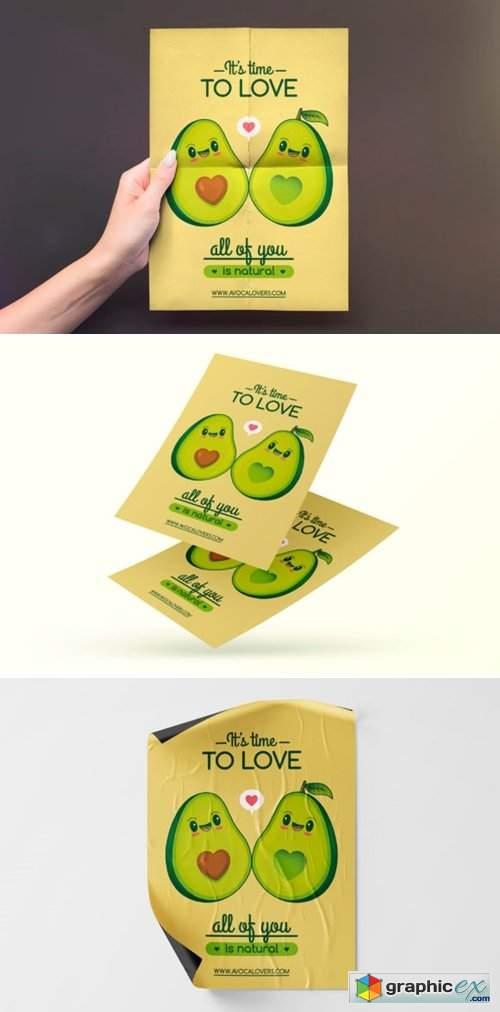 Cute Kawaii Avocados Love Flyer Template