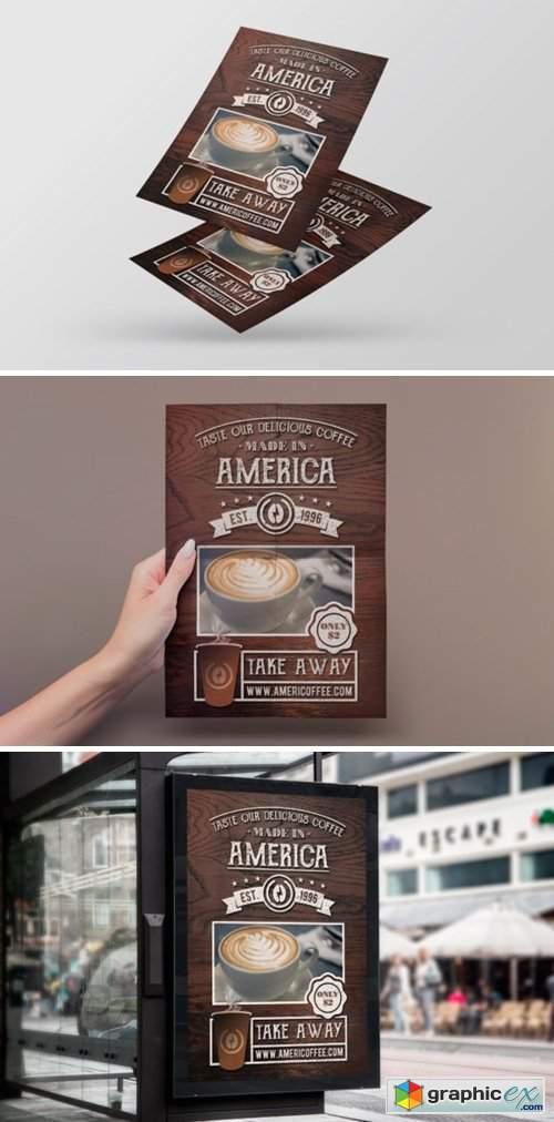 Take Away Coffee Shop Flyer Template