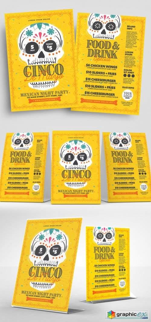 Cinco De Mayo Flyer Layout with Calacas Skull Illustrations
