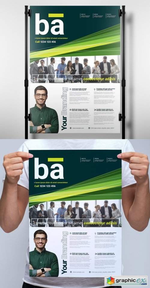 Business Poster Layout with Green Accents
