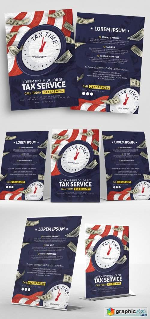 Green Currency-Themed Income Tax Service Flyer