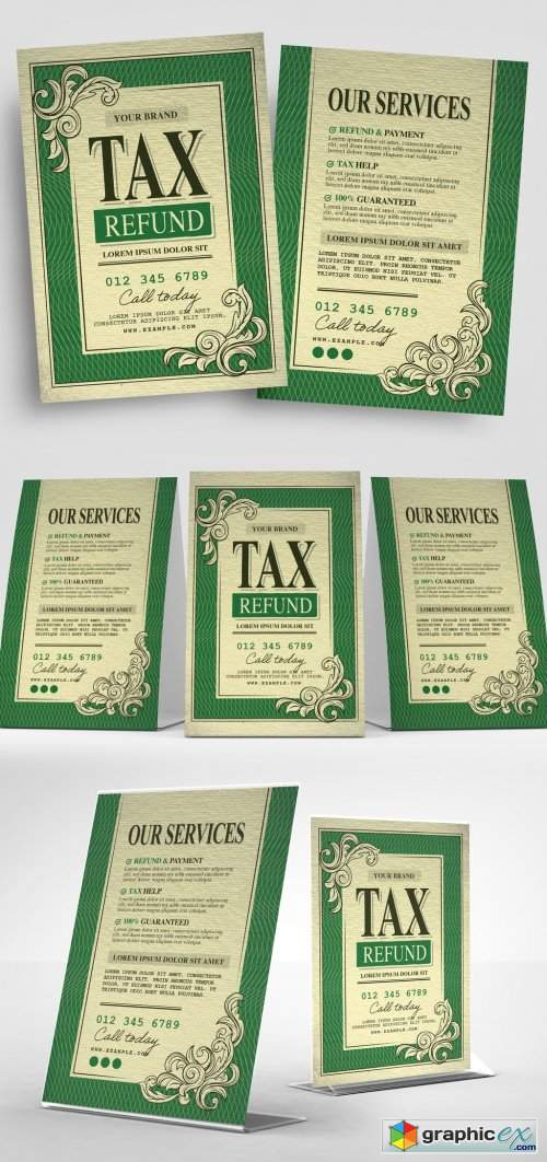 Tax Refund Flyer Design with Dollar Bill Style