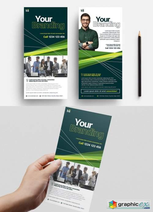 Business Flyer Layout with Green Accents