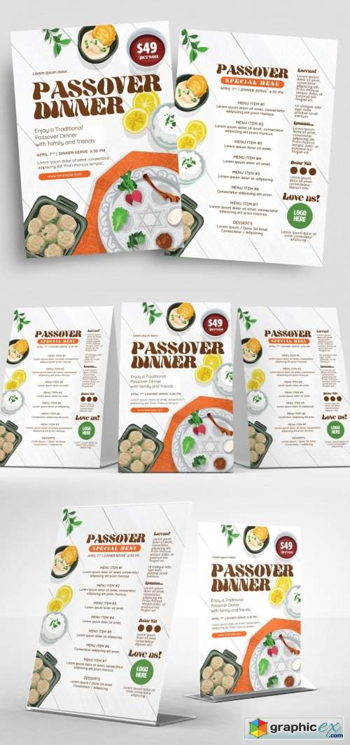 Passover Event Flyer Layout with Food Illustrations
