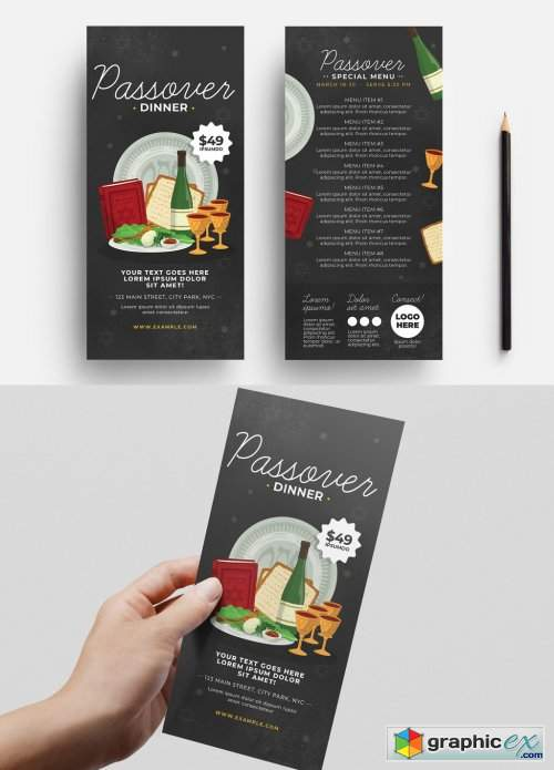 Passover Menu Layout with Food Illustrations