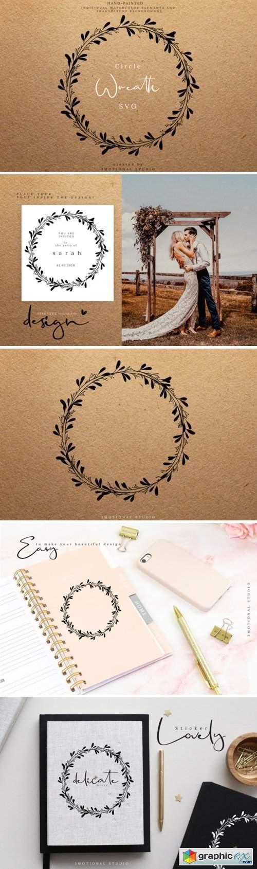 Circle Wreath Cut File Clip Art