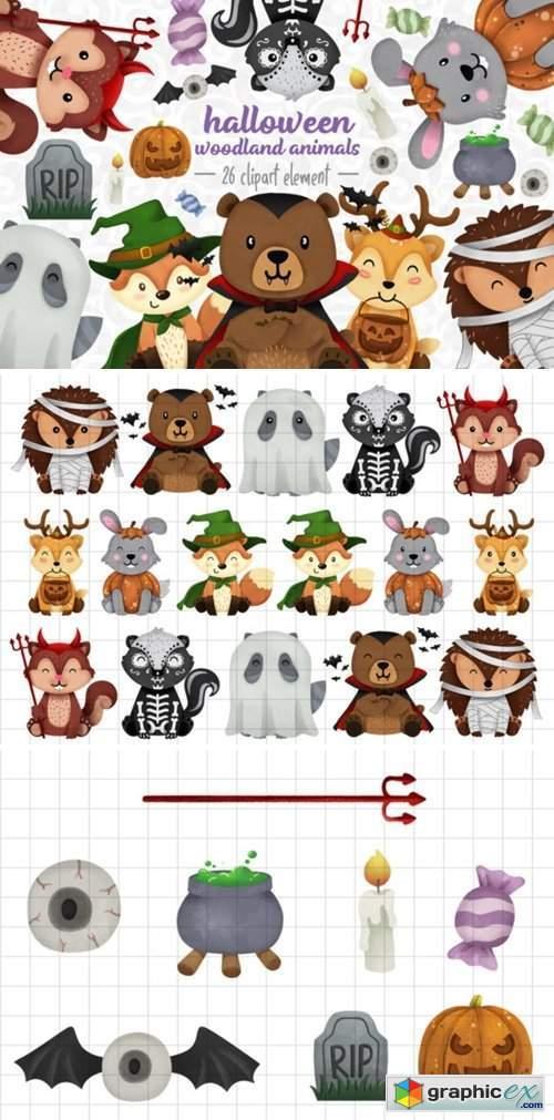 Halloween Woodland Animals Clipart Set 1