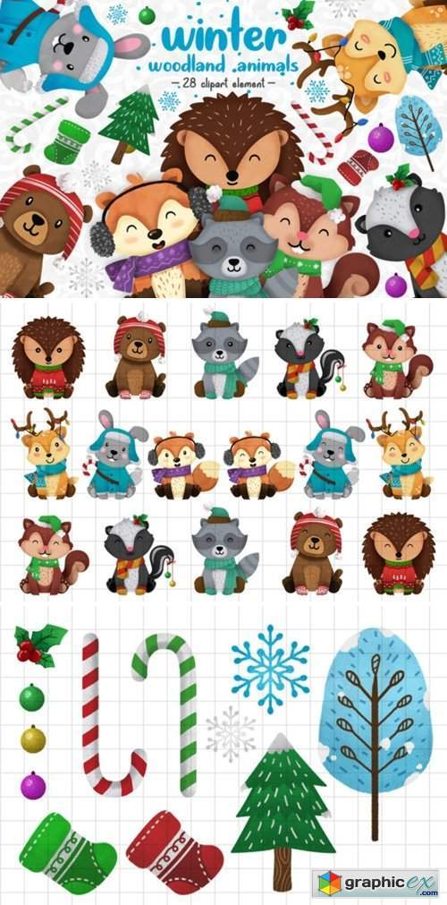 Winter Woodland Animals Clipart Set 1