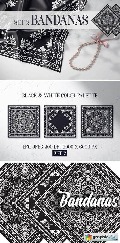 Bandanas silk scarf set 2
