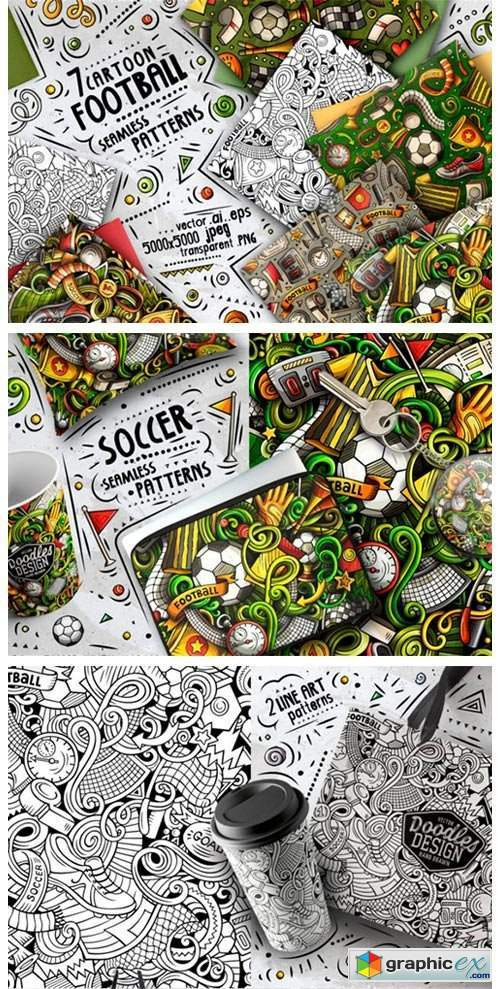 7 Soccer Doodle Seamless Patterns