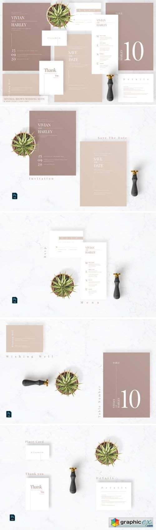 Minimal Brown Wedding Suite