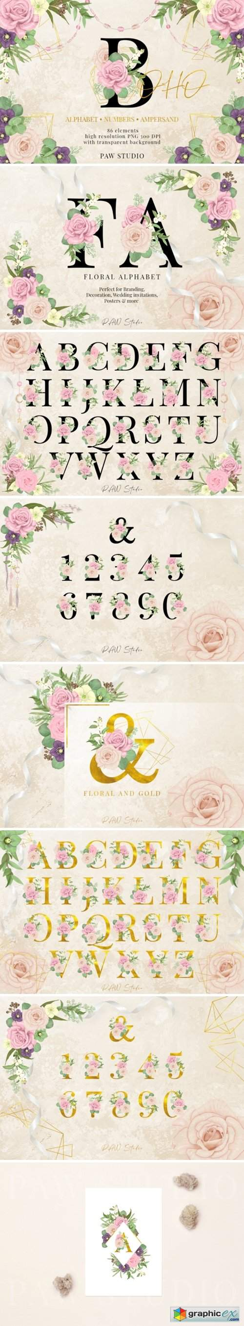 Floral Gold Letters Numbers Ampersand