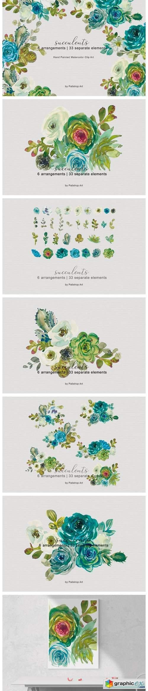 Turquoise Watercolor Succulents Set