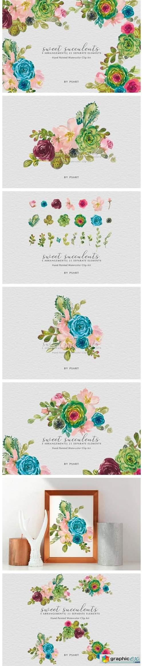 Watercolor Succulents & Florals Clip Art
