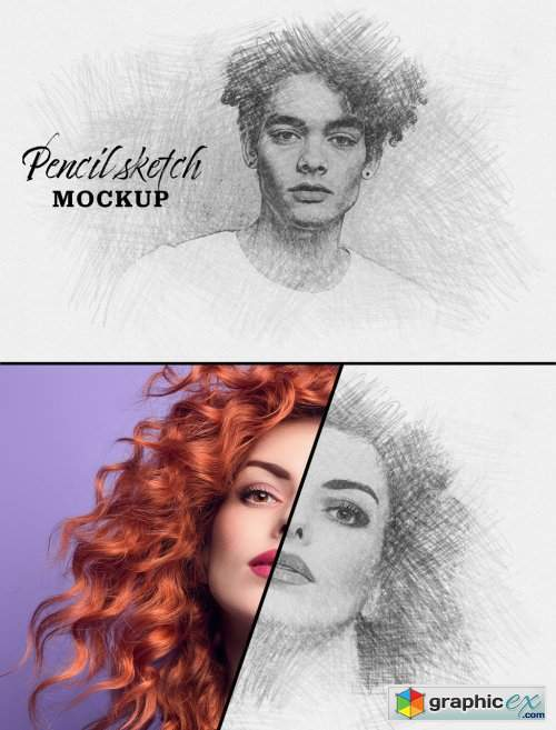 Photo Sketch Effect Mockup 328145668