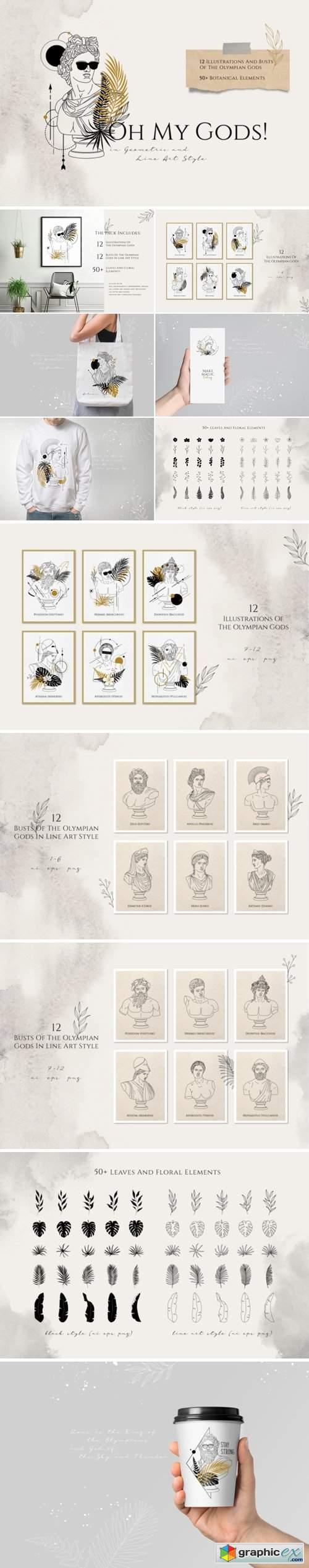 Oh My Gods! Olympian Gods in Line Art
