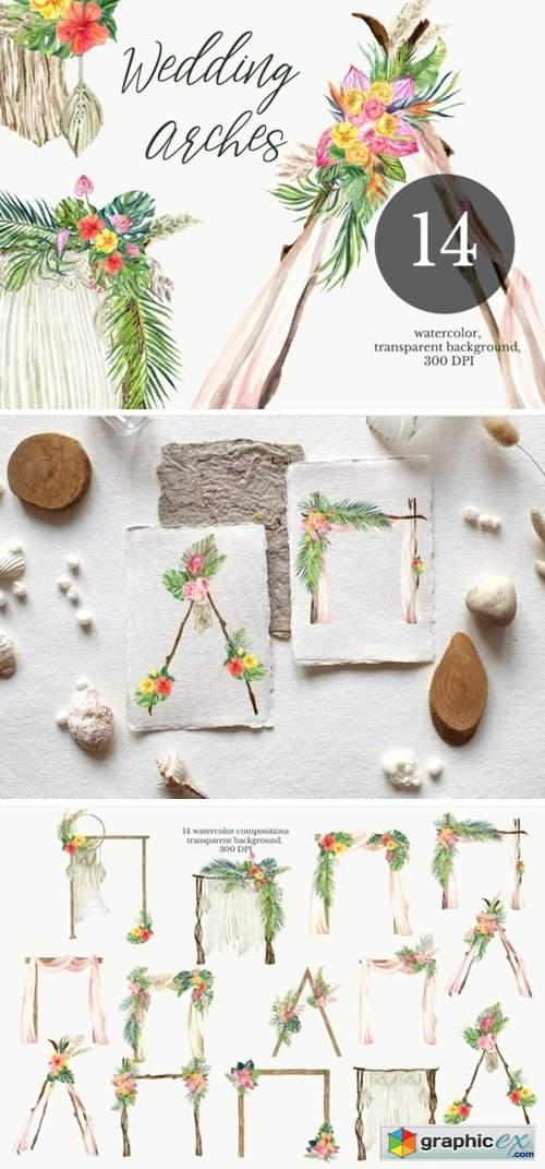 Watercolor Arch Boho Wedding Clipart