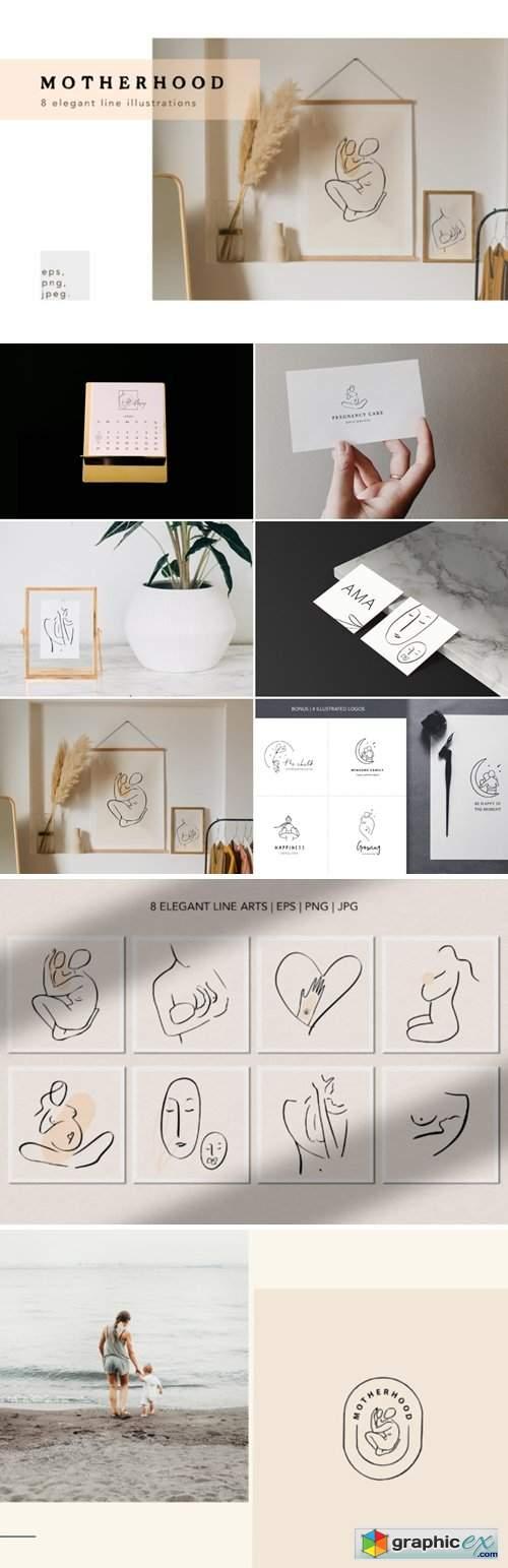 Motherhood Line Art Illustrations