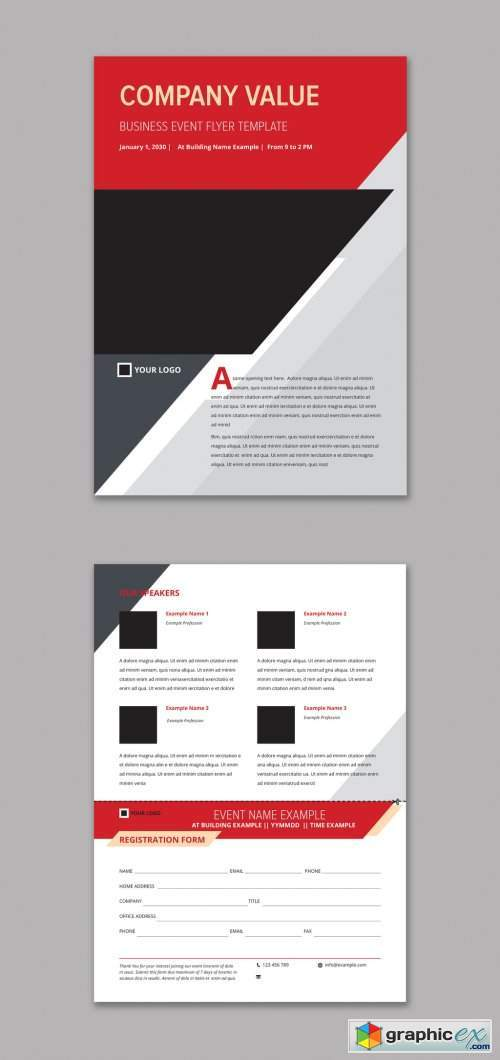 Business Event Flyer Layout with Red and Grey Accents