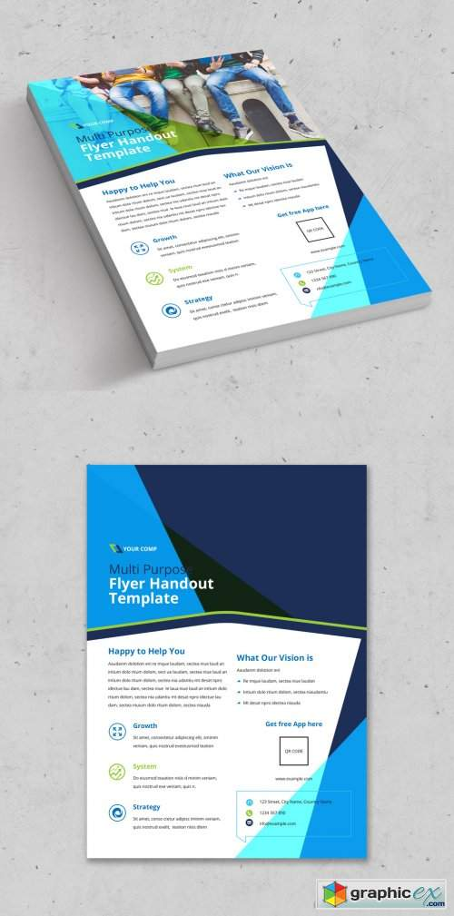 Flyer Layout with Blue and Green Accents