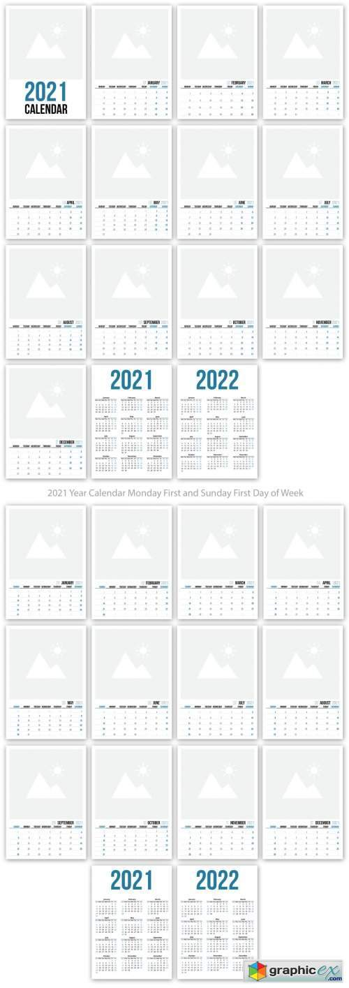 2021 Wall Calendar Layout with Blue Accents