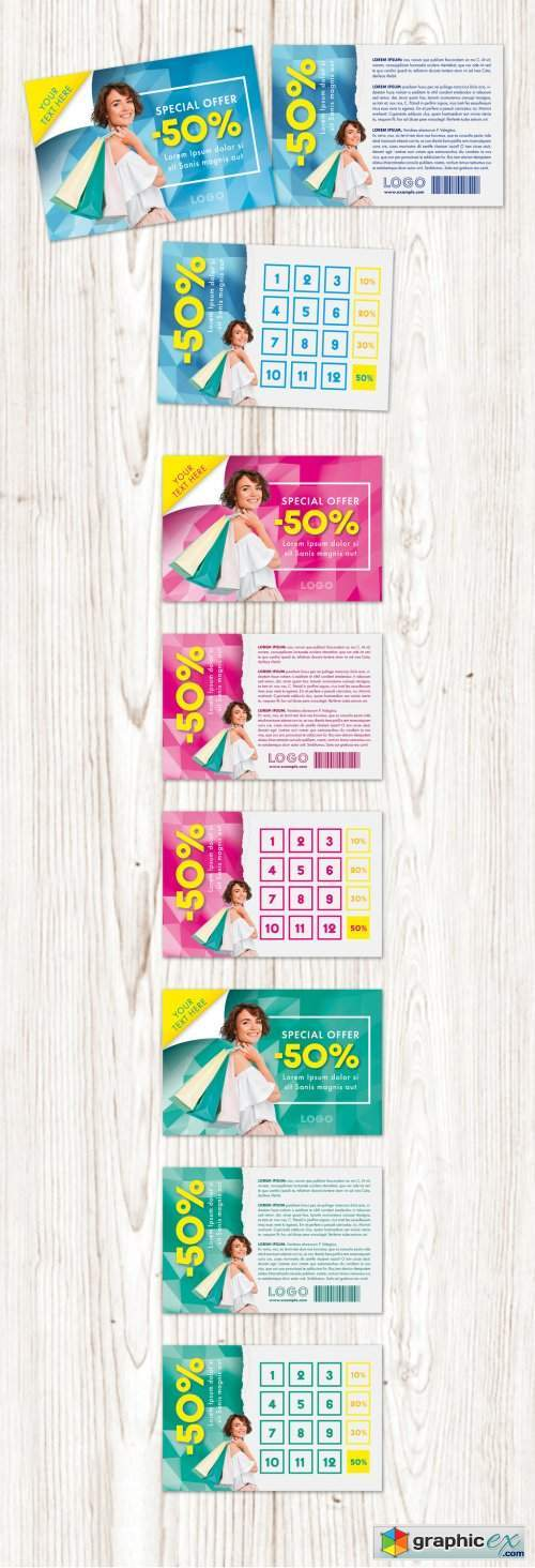 Sales Discount Voucher with Three Color Option Layout