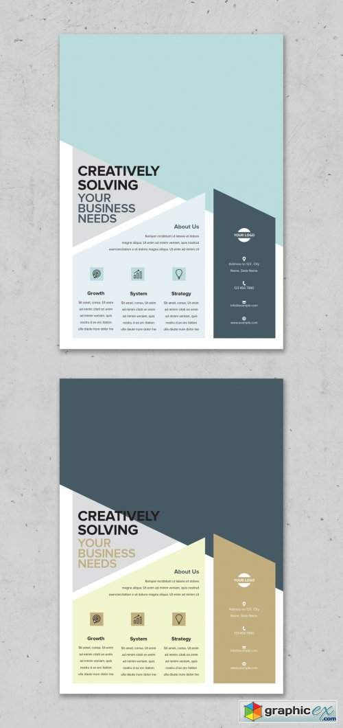 Flyer Layout with Big Image and Diagonal Geometric Elements