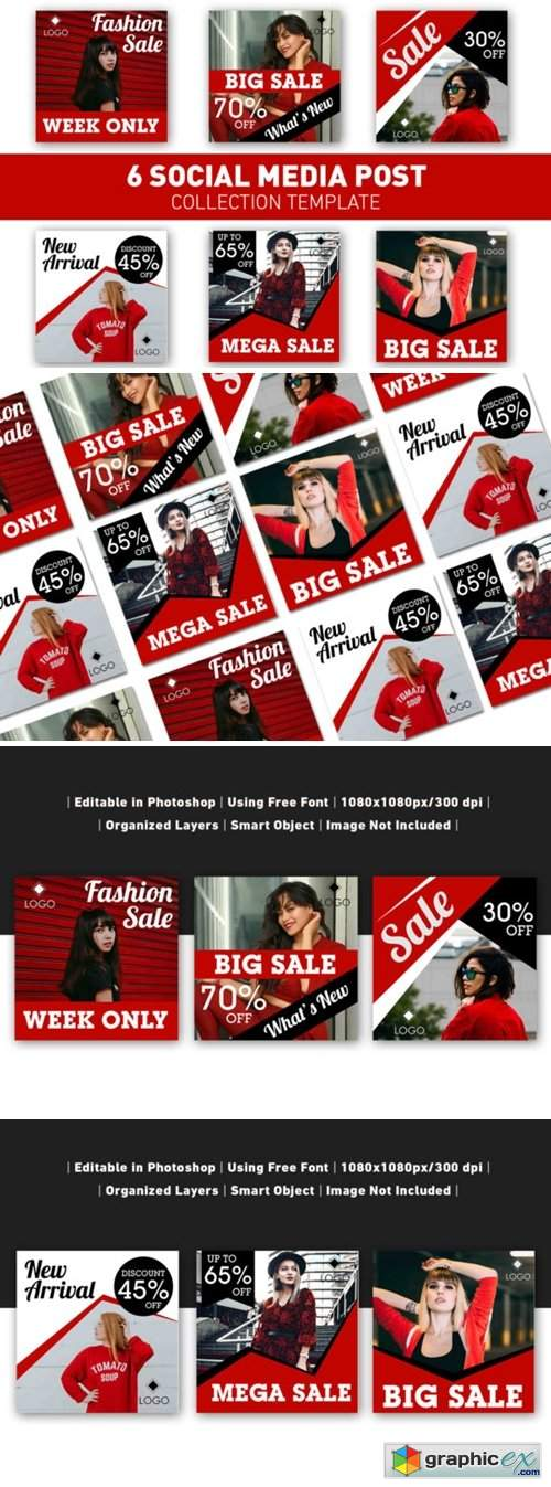 Social Media Post Red Sale Collection