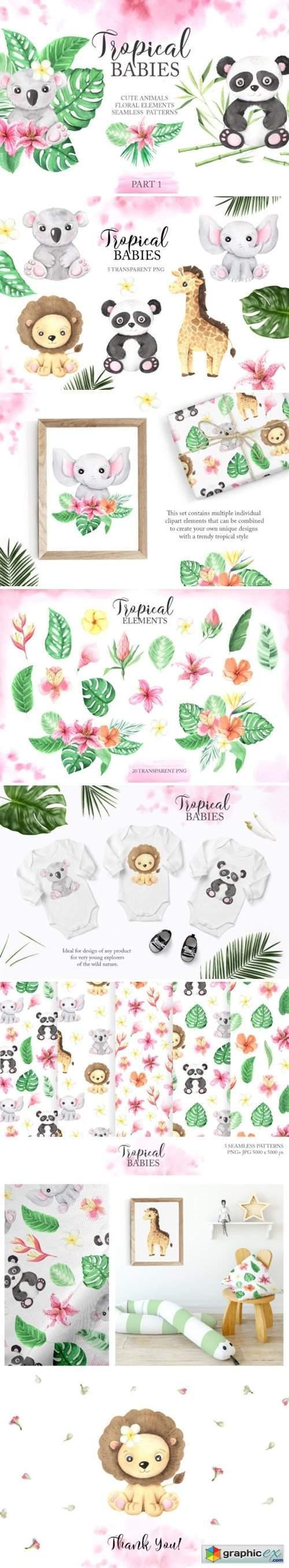 Watercolor Tropical Babies Set 1