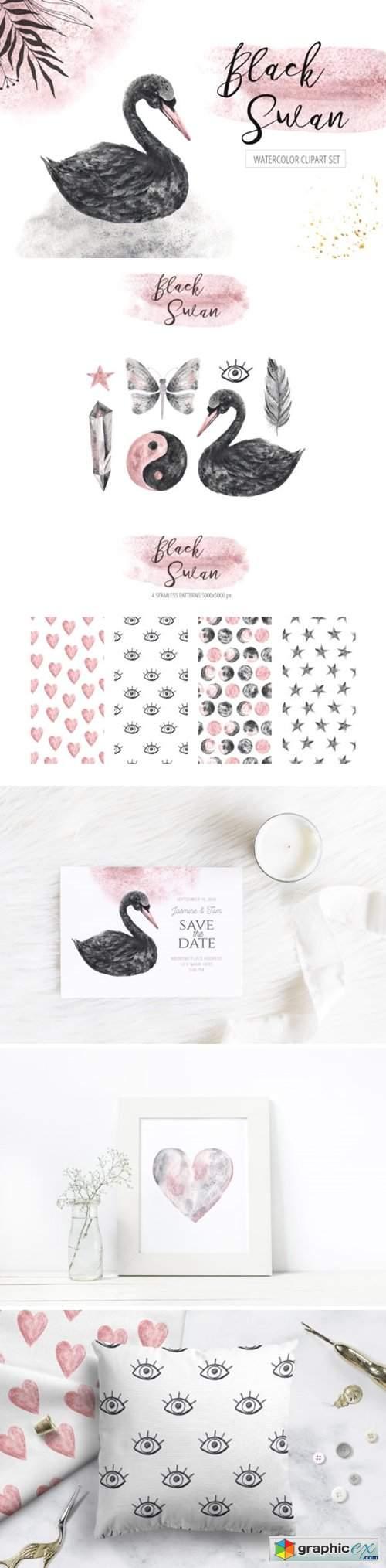 Watercolor Black Swan Set