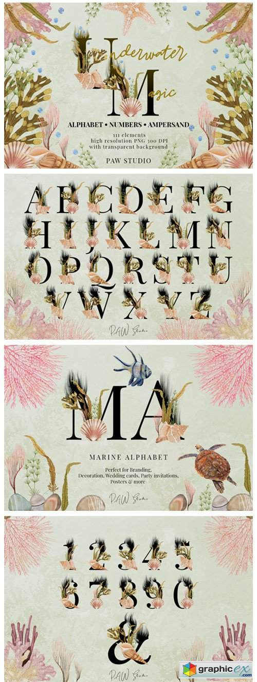 Marine Alphabet Clipart Letters Numbers
