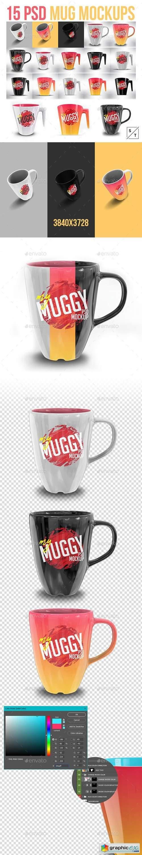 Photorealistic 15 PSD Mockup Mug Set