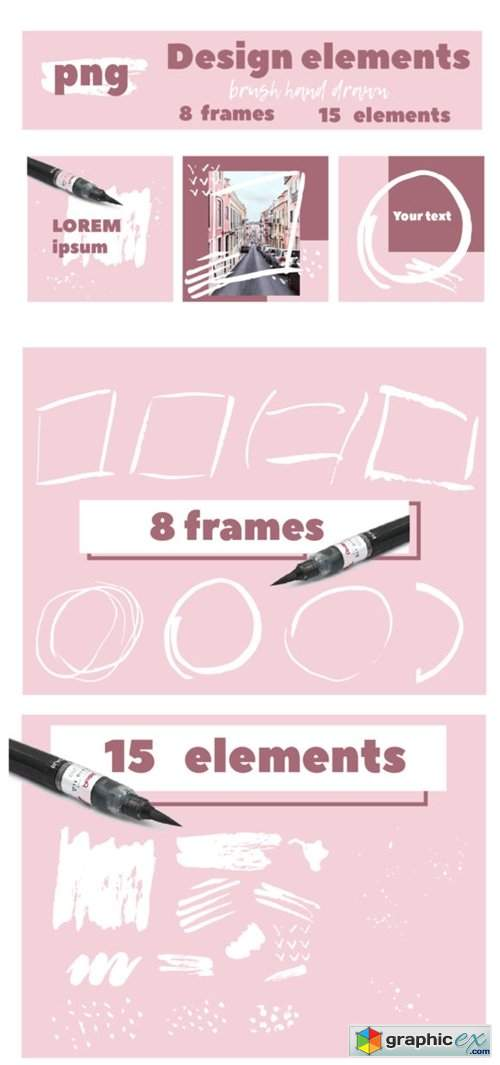 Set of Brush Textured Elements and Frame