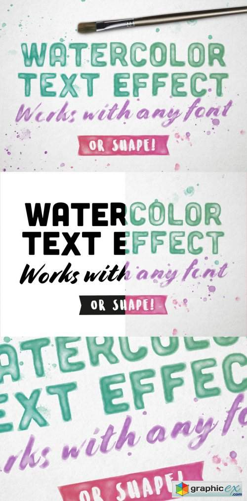 Image Watercolor Text Effect Mockup