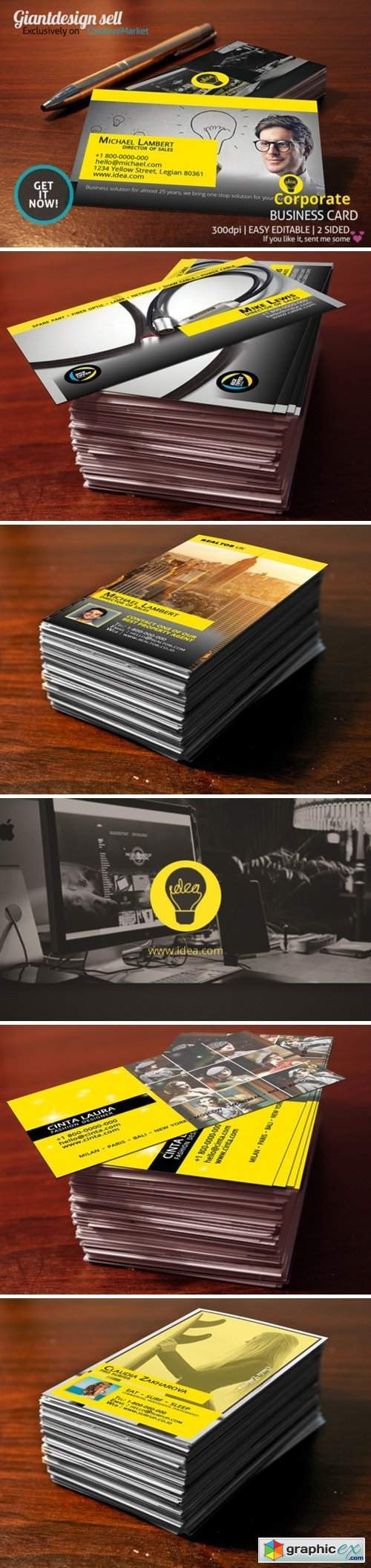 5 Yellow Business Card Template